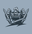 three knights in armor protect themselves vector image