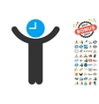 Time Boss Icon With 2017 Year Bonus Symbols vector image vector image