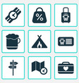 trip icons set with pointers tent with fire vector image
