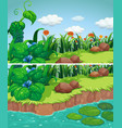 two scenes of park with flowers and river vector image vector image