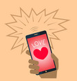 valentine heart mobile phone vector image