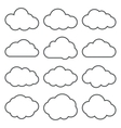 Cloud Shapes collection Set of Thin Line Cloud vector image