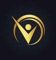 success business man happy gold logo vector image