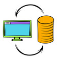 computer monitor with pile of gold coins icon vector image