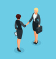 3d businesswomen handshake vector image vector image