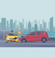 accident road background damaged spped cars in vector image vector image