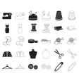atelier and sewing blackoutline icons in set vector image vector image