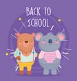 back to school education bear and koala students vector image vector image