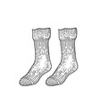 black textile socks hand drawn ink drawing vector image vector image