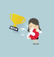 businesswoman attracting trophy with magnet vector image