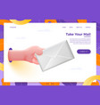 cartoon 3d realistic hand holding envelope vector image