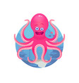 cartoon octopus on sea bottom vector image