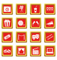 cinema icons set red vector image vector image