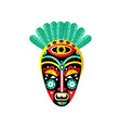 cute ornamental african mask red element green vector image vector image