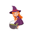 cute small red-haired girl witch dragging cauldron vector image vector image