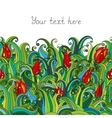 Doodle flower and grass seamless border pattern vector image