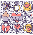 doodle set valentine day hand drawing vector image