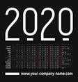 english creative calendar 2020 vector image vector image