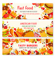 fast food banners of fastfood meal snacks vector image vector image