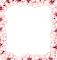 Frame restangle blossoming sakura or cherry red vector image vector image