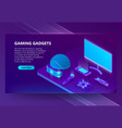 gaming gadgets isometric concept background vector image vector image