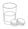 Glass of milk with cookies icon in outline style vector image vector image