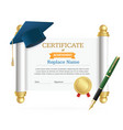 graduated cap student and roll certificate vector image