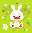 happy easter spring flat design with cute white vector image