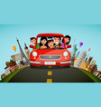 happy family rides in car on vacation journey vector image vector image