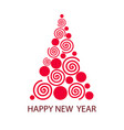 happy new year greeting card with christmas tree vector image vector image