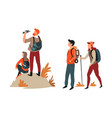 hiking and trekking hikers couples backpacks and vector image