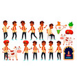 indian boy kid poses set school student vector image vector image