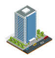 isometric city houses composition with building vector image vector image