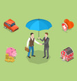 isometric flat concept insurance policy vector image vector image
