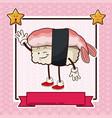 kawaii seafood sushi chinese food card banner vector image vector image