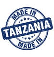 made in tanzania blue grunge round stamp vector image vector image