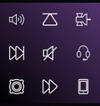 media icons line style set with sound off next vector image