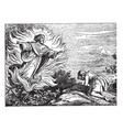 moses and the burning bush vintage vector image vector image