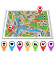 Paper maps icons and distance marked in red vector image vector image