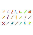 pen pencil icon set cartoon style vector image