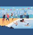 people dance in tropical music beach cocktail vector image