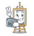 photographer easel mascot cartoon style vector image
