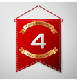 Red pennant with inscription Four Years vector image