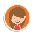 round frame and girl with brown hair vector image vector image