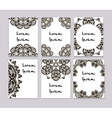 Round mehendi henna patterns drawn doodle set vector image