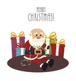 santa claus with gifts isolated icon design vector image