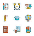school things icons set flat style vector image