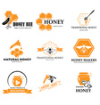 set honey labels vector image vector image