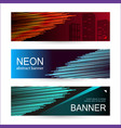 set horizontal dark banners with glowing lines vector image