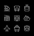 set line icons public transport vector image vector image